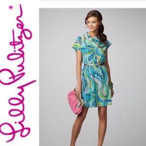 Lilly Pulitzer Silk Crowl Neck Harlow Dress